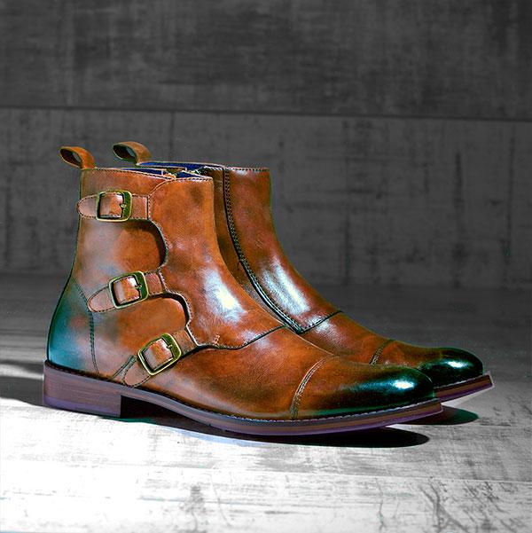 Burnished dark Tan Leather Boot - Lockheed 1