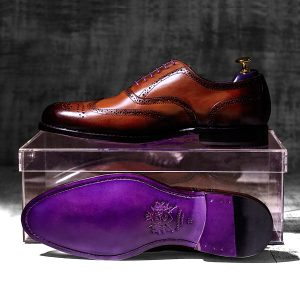 Burnished Mahgogany Italian Leather Goodyear Welted Brogue - Dehavilland 1