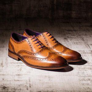 Burnished Tan Leather Brogue with Purple Sole - Harvard 3