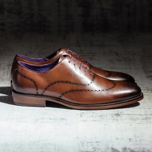 Medium Tan burnished Italian Leather Wholecut Brogue - Hawker 1