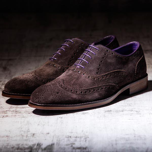 Brown Suede Italian Leather Brogue - Meteor 1