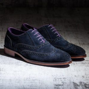 Blue Suede Italian Leather Brogue - Meteor 1