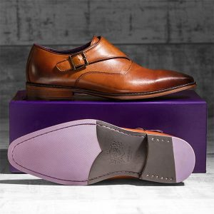 Burnished Italian Tan Leather uppers with Single Monkstrap - Luscombe 1