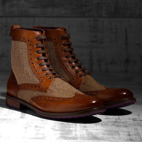 Burnished Tan Italian leather with Tweed Panels - Lerwick 1